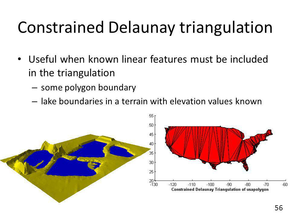 Constrained Delaunay triangulation Useful when known linear features must be included in the triangulation – some polygon boundary – lake boundaries in a terrain with elevation values known 56