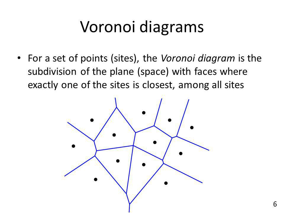 Voronoi diagrams For a set of points (sites), the Voronoi diagram is the subdivision of the plane (space) with faces where exactly one of the sites is closest, among all sites 6