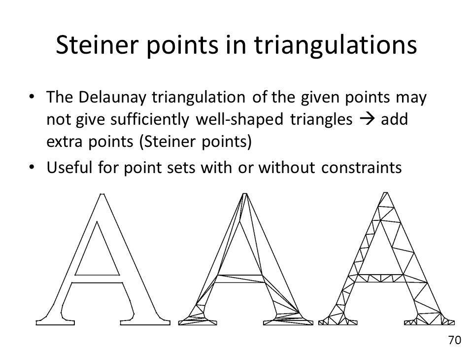Steiner points in triangulations The Delaunay triangulation of the given points may not give sufficiently well-shaped triangles  add extra points (Steiner points) Useful for point sets with or without constraints 70