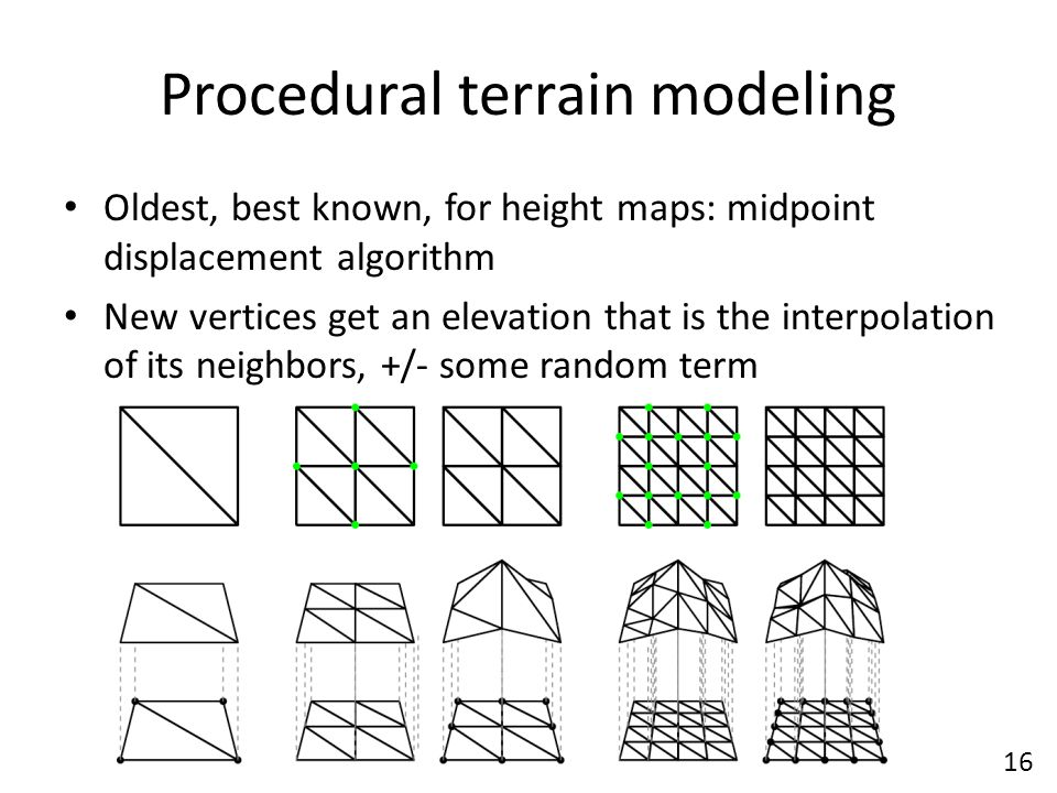 Procedural terrain modeling Oldest, best known, for height maps: midpoint displacement algorithm New vertices get an elevation that is the interpolation of its neighbors, +/- some random term 16