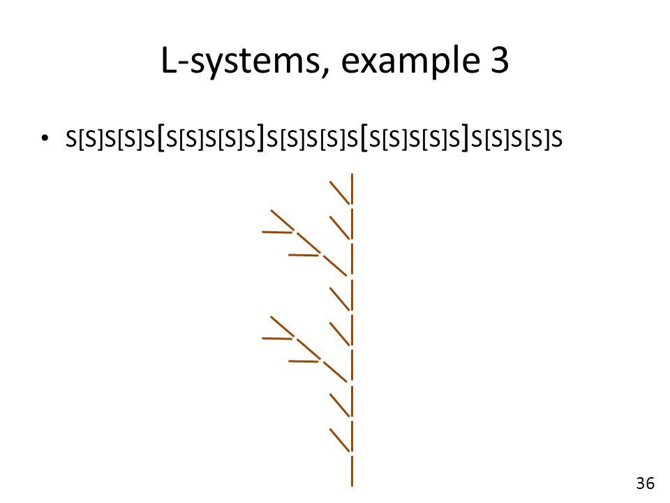 L-systems, example 3 S[S]S[S]S [ S[S]S[S]S ] S[S]S[S]S [ S[S]S[S]S ] S[S]S[S]S 36