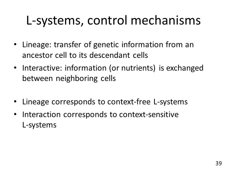 L-systems, control mechanisms Lineage: transfer of genetic information from an ancestor cell to its descendant cells Interactive: information (or nutrients) is exchanged between neighboring cells Lineage corresponds to context-free L-systems Interaction corresponds to context-sensitive L-systems 39