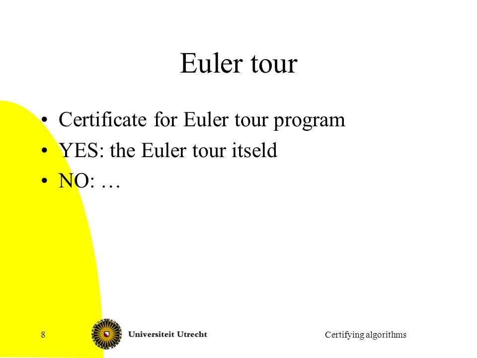 Euler tour Certificate for Euler tour program YES: the Euler tour itseld NO: … Certifying algorithms8