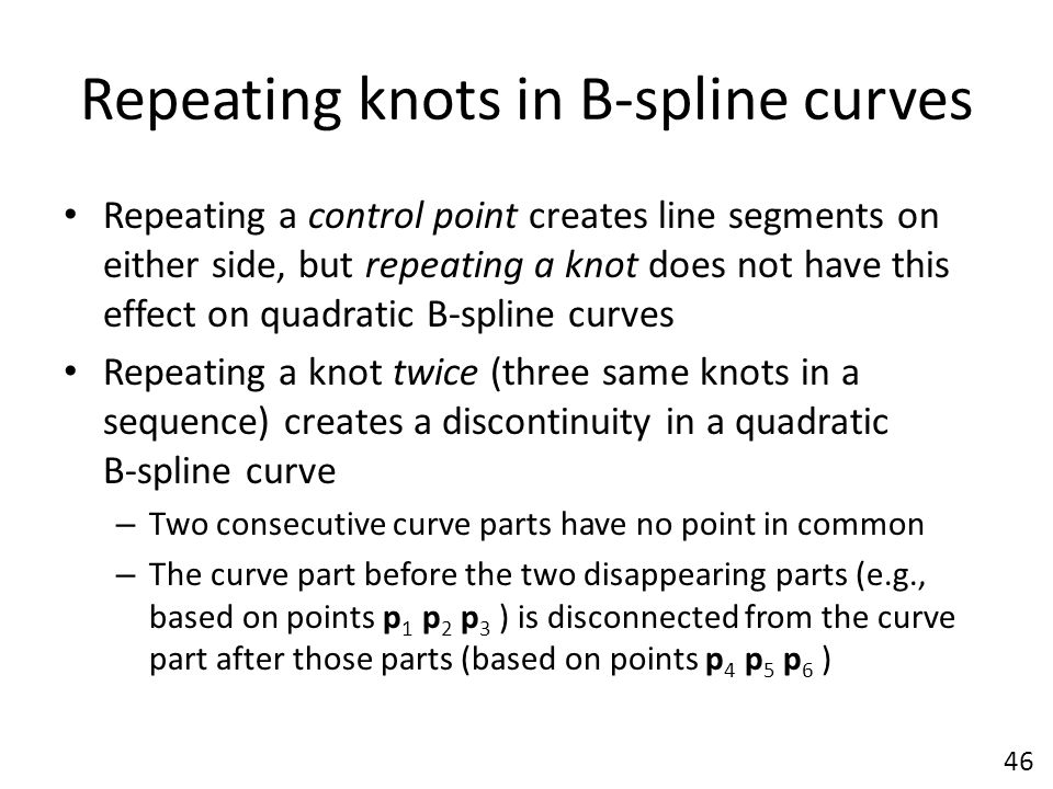 Repeating knots in B-spline curves Repeating a control point creates line segments on either side, but repeating a knot does not have this effect on q