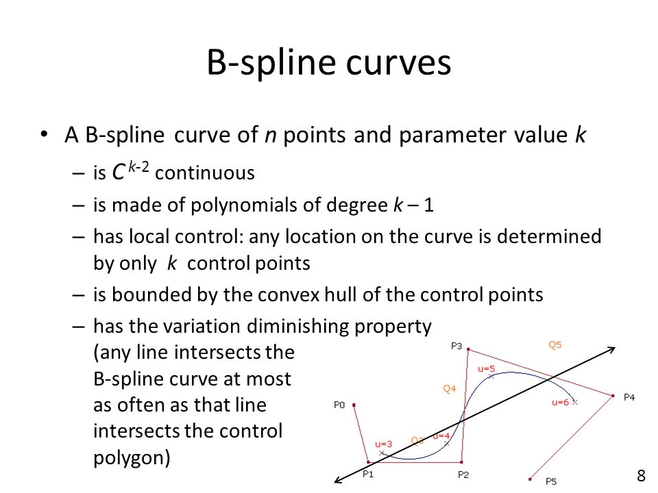 B-spline curves A B-spline curve of n points and parameter value k – is C k-2 continuous – is made of polynomials of degree k – 1 – has local control: