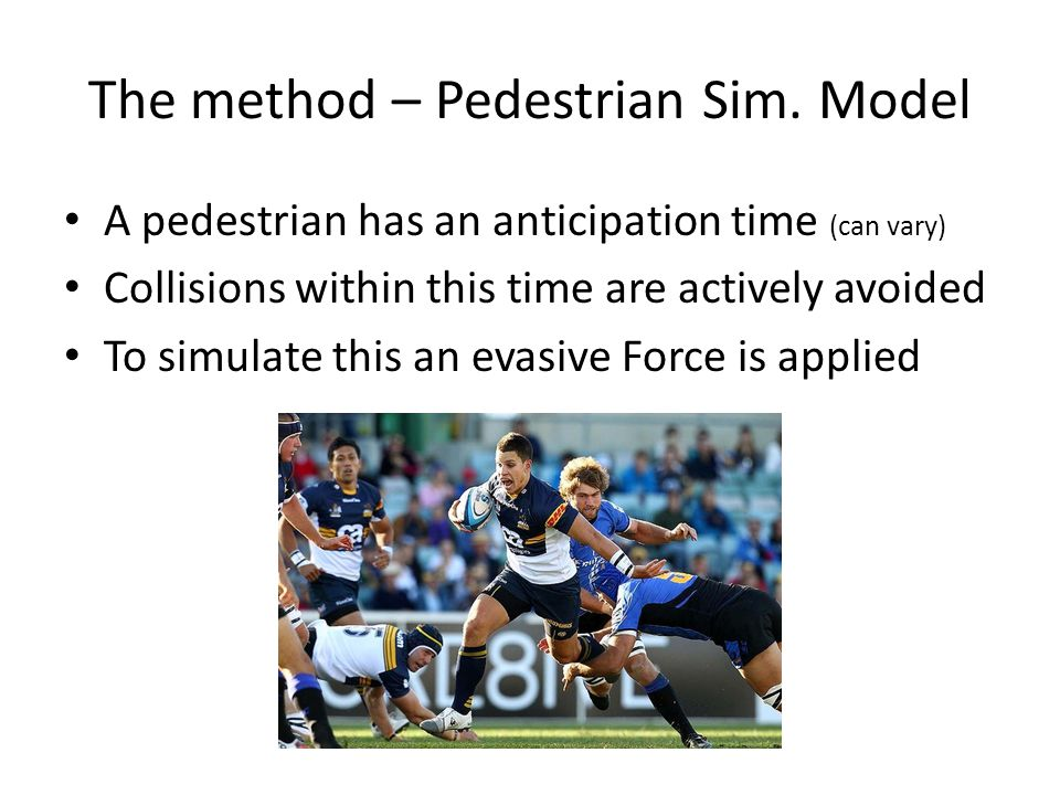 A pedestrian has an anticipation time (can vary) Collisions within this time are actively avoided To simulate this an evasive Force is applied The method – Pedestrian Sim.