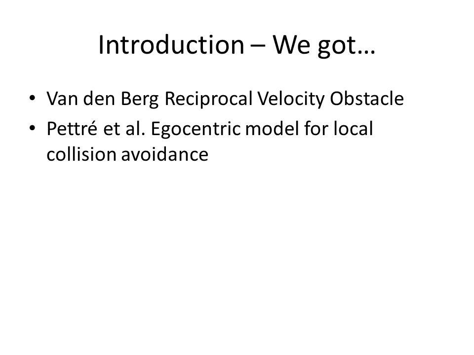 Van den Berg Reciprocal Velocity Obstacle Pettré et al. Egocentric model for local collision avoidance Introduction – We got…