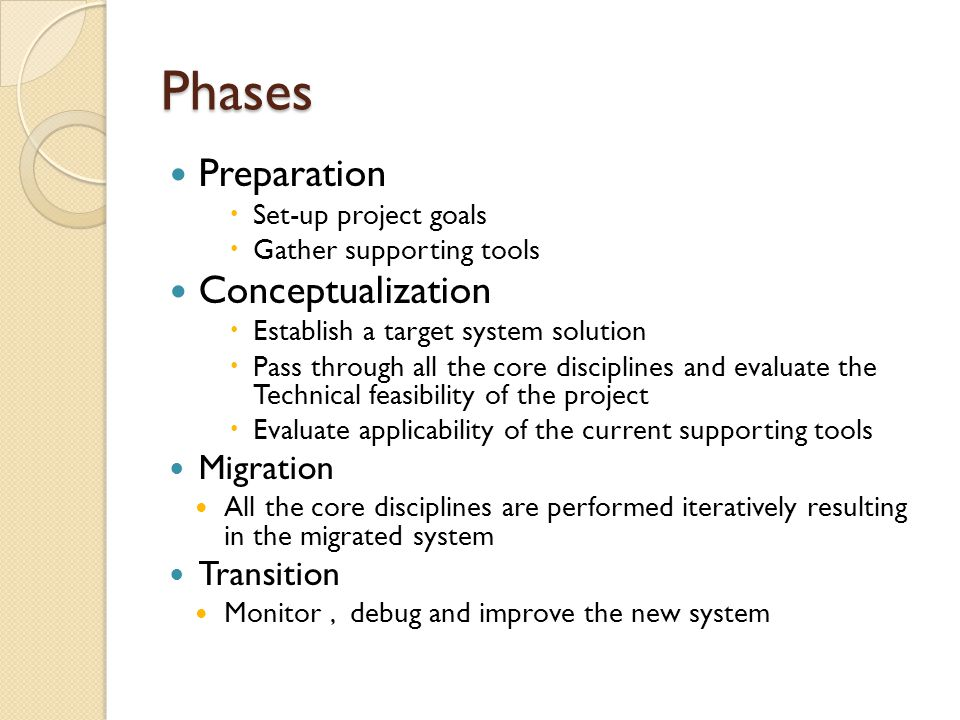 Phases Preparation  Set-up project goals  Gather supporting tools Conceptualization  Establish a target system solution  Pass through all the core disciplines and evaluate the Technical feasibility of the project  Evaluate applicability of the current supporting tools Migration All the core disciplines are performed iteratively resulting in the migrated system Transition Monitor, debug and improve the new system