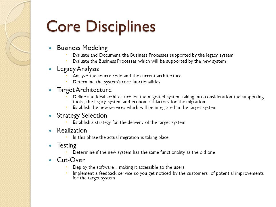 Core Disciplines Business Modeling  Evaluate and Document the Business Processes supported by the legacy system  Evaluate the Business Processes whi