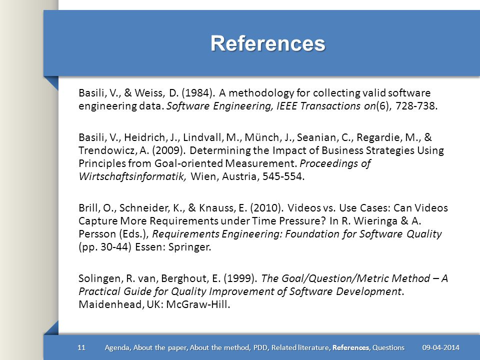 References Basili, V., & Weiss, D. (1984).