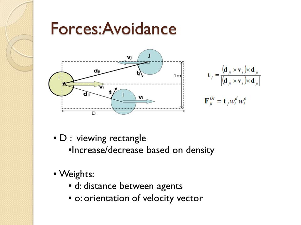 Forces:Avoidance D : viewing rectangle Increase/decrease based on density Weights: d: distance between agents o: orientation of velocity vector