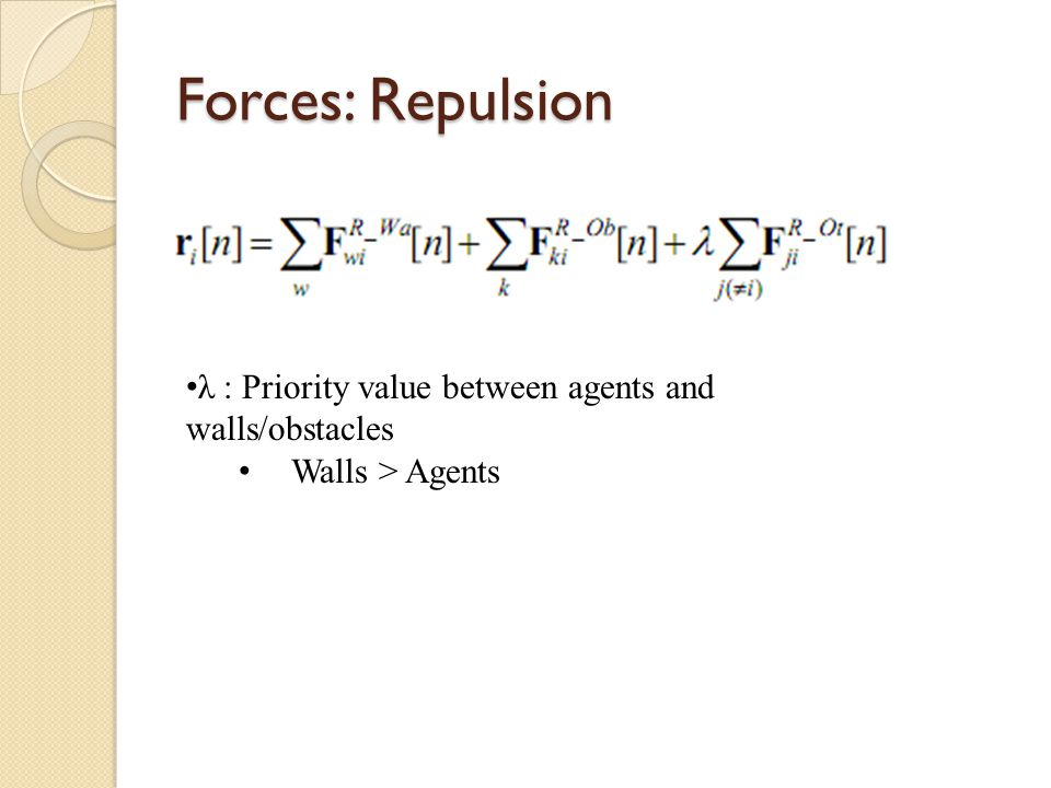 Forces: Repulsion λ : Priority value between agents and walls/obstacles Walls > Agents