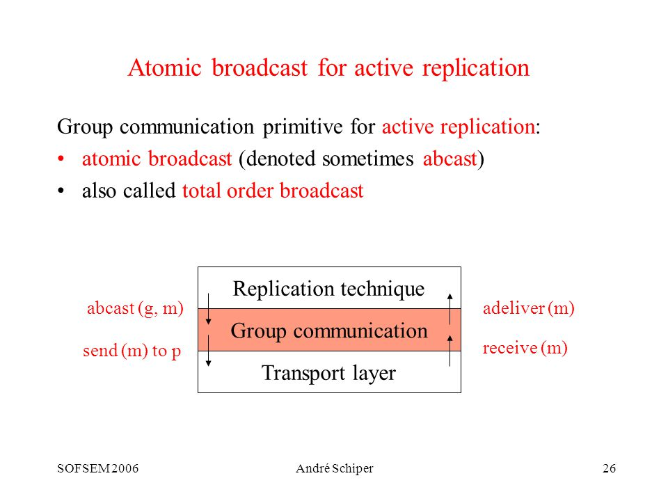 SOFSEM 2006André Schiper26 Atomic broadcast for active replication Group communication primitive for active replication: atomic broadcast (denoted sometimes abcast) also called total order broadcast Replication technique Group communication Transport layer abcast (g, m)adeliver (m) receive (m) send (m) to p