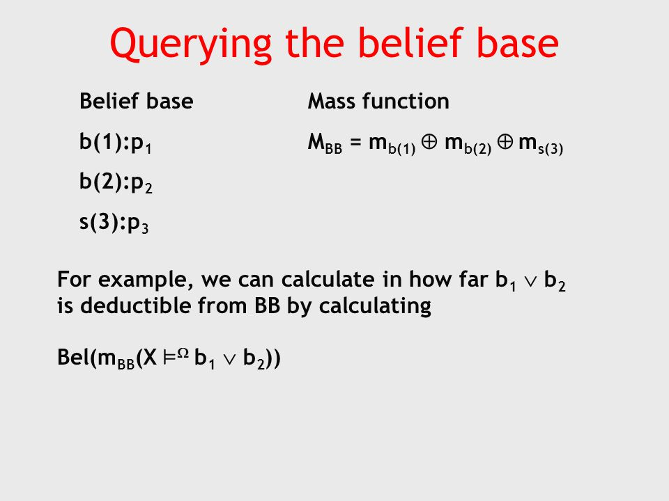 Querying the belief base Belief base b(1):p 1 b(2):p 2 s(3):p 3 Mass function M BB = m b(1)  m b(2)  m s(3) For example, we can calculate in how far b 1  b 2 is deductible from BB by calculating Bel(m BB (X ²  b 1  b 2 ))