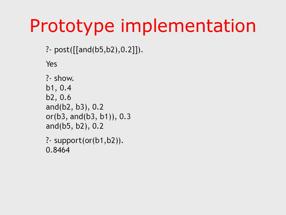 Prototype implementation ?- post([[and(b5,b2),0.2]]).
