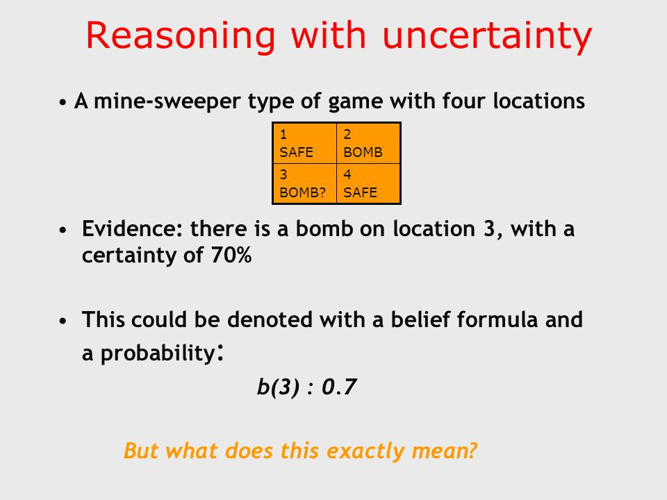 Reasoning with uncertainty With four locations, we have 16 possible worlds: s(1)  s(2)  s(3)  s(4) … b(1)  b(2)  b(3)  b(4) b(3) has a set of models, possible worlds in which b(3) is true Evidence of 0.7 that one of these is the actual world