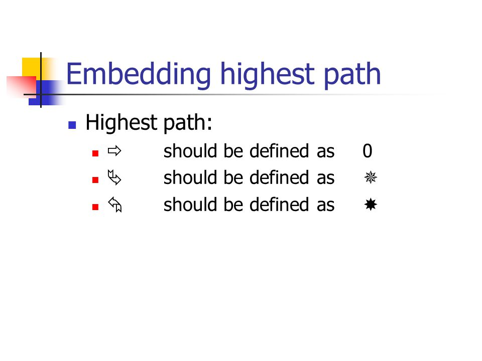 Embedding highest path Highest path:  should be defined as 0  should be defined as   should be defined as 