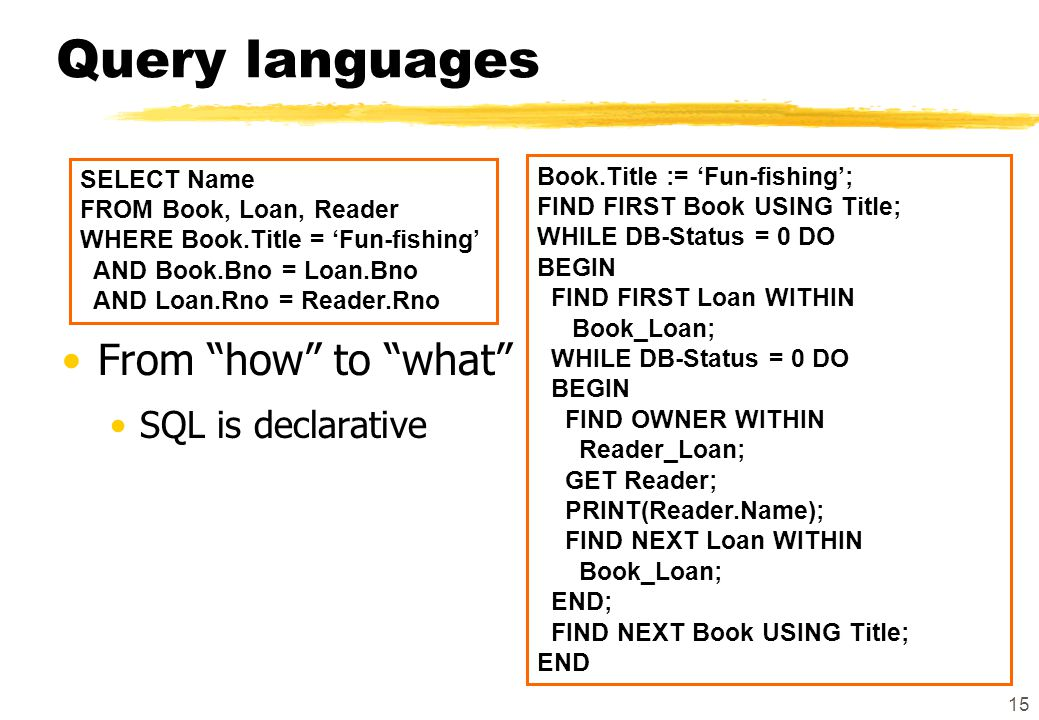 "15 Query languages From ""how"" to ""what"" SQL is declarative SELECT Name FROM Book, Loan, Reader WHERE Book.Title = 'Fun-fishing' AND Book.Bno = Loan.Bn"