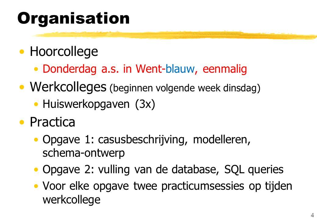 Organisation Hoorcollege Donderdag a.s.