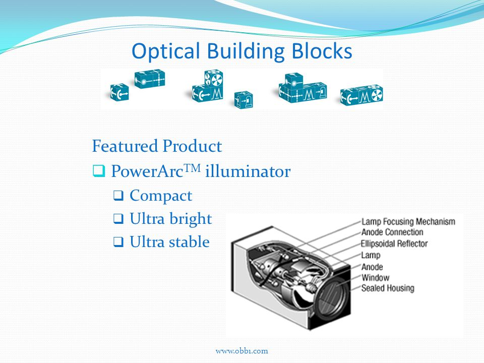 Optical Building Blocks Featured Product  PowerArc TM illuminator  Compact  Ultra bright  Ultra stable www.obb1.com