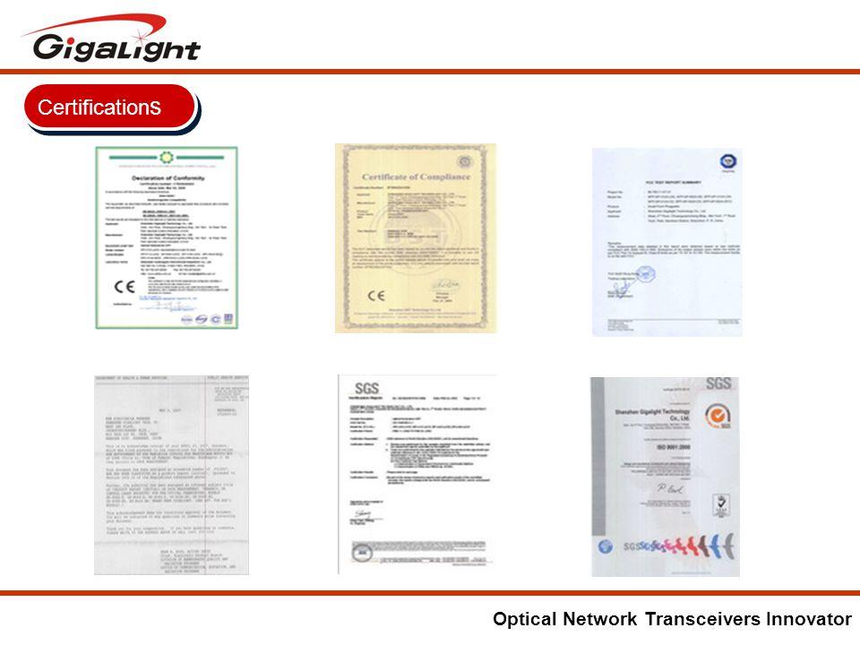 Optical Network Transceivers Innovator Certification s