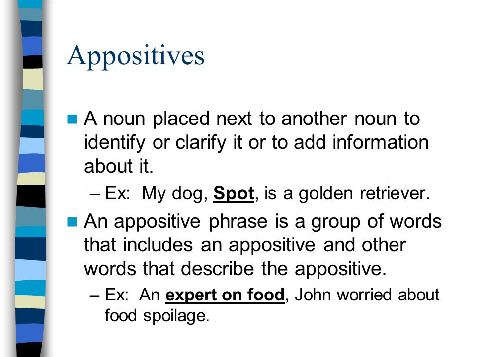 Appositives A noun placed next to another noun to identify or clarify it or to add information about it.