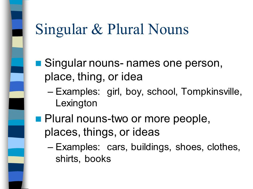 Singular & Plural Nouns Singular nouns- names one person, place, thing, or idea –Examples: girl, boy, school, Tompkinsville, Lexington Plural nouns-two or more people, places, things, or ideas –Examples: cars, buildings, shoes, clothes, shirts, books