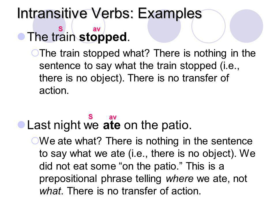 Intransitive Verbs: Examples The train stopped.  The train stopped what? There is nothing in the sentence to say what the train stopped (i.e., there