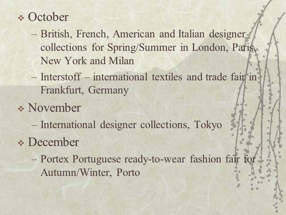  October –British, French, American and Italian designer collections for Spring/Summer in London, Paris, New York and Milan –Interstoff – internation