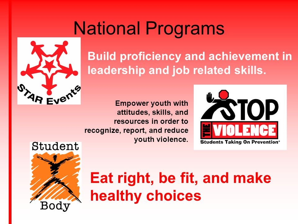 National Programs Build proficiency and achievement in leadership and job related skills. Empower youth with attitudes, skills, and resources in order