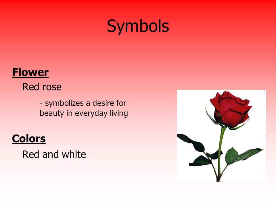 Symbols Flower Red rose - symbolizes a desire for beauty in everyday living Colors Red and white