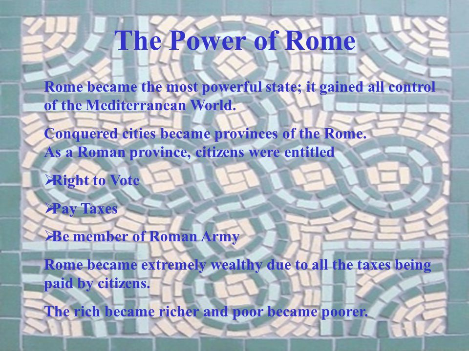 An End to the Republic Rome had become so large it depended on military rulers.