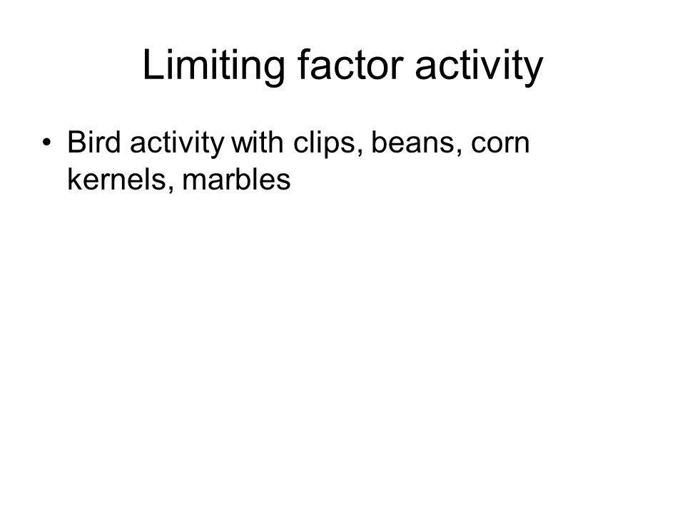 Limiting factor activity Bird activity with clips, beans, corn kernels, marbles