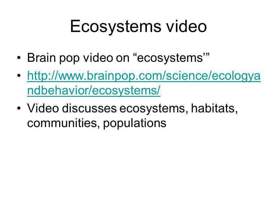 Ecosystems video Brain pop video on ecosystems' http://www.brainpop.com/science/ecologya ndbehavior/ecosystems/http://www.brainpop.com/science/ecologya ndbehavior/ecosystems/ Video discusses ecosystems, habitats, communities, populations