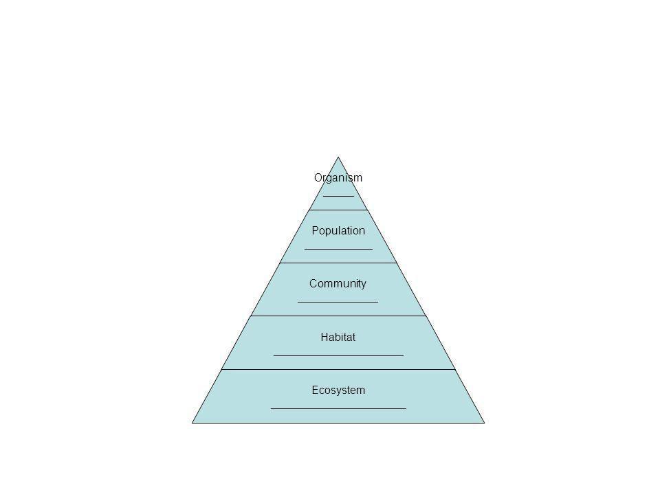 Organism _____ Population ___________ Community _____________ Habitat _____________________ Ecosystem ______________________
