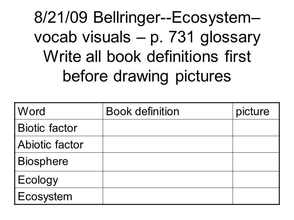 8/21/09 Bellringer--Ecosystem– vocab visuals – p.