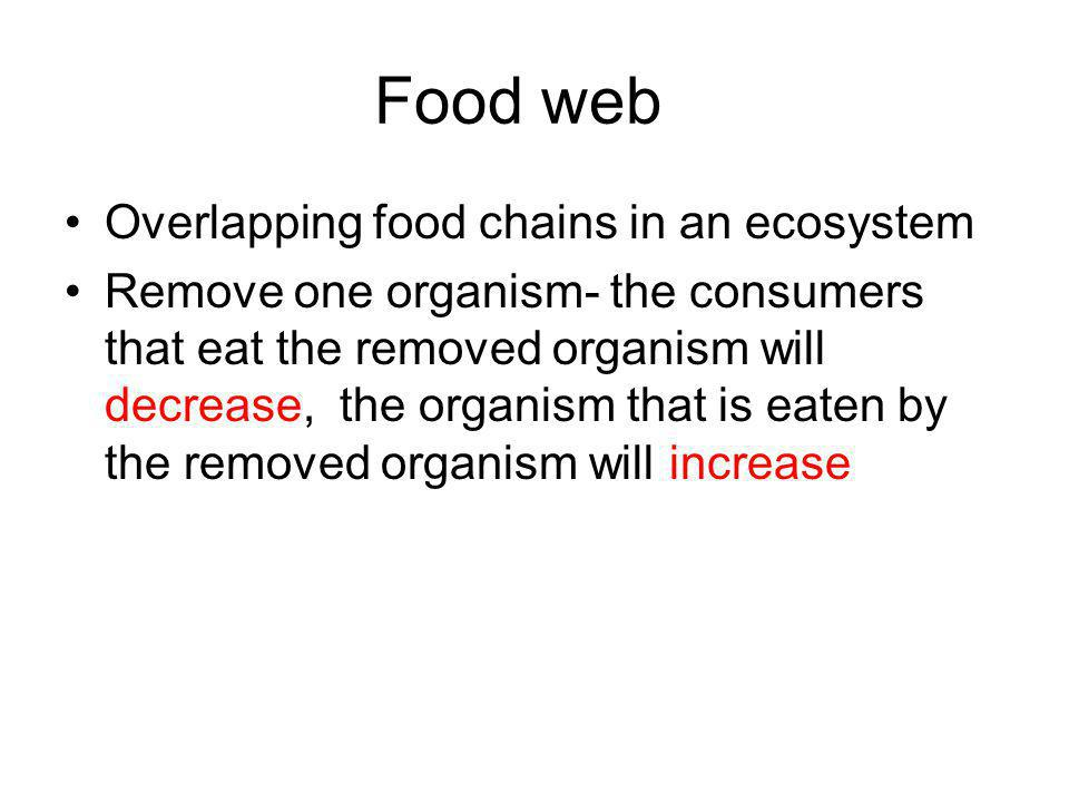 Food web Overlapping food chains in an ecosystem Remove one organism- the consumers that eat the removed organism will decrease, the organism that is eaten by the removed organism will increase
