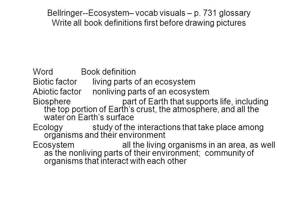 Bellringer--Ecosystem– vocab visuals – p.