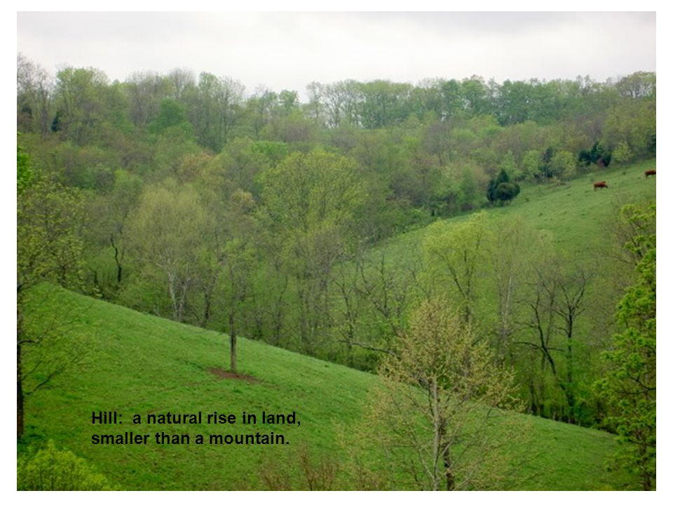 Hill: a natural rise in land, smaller than a mountain.