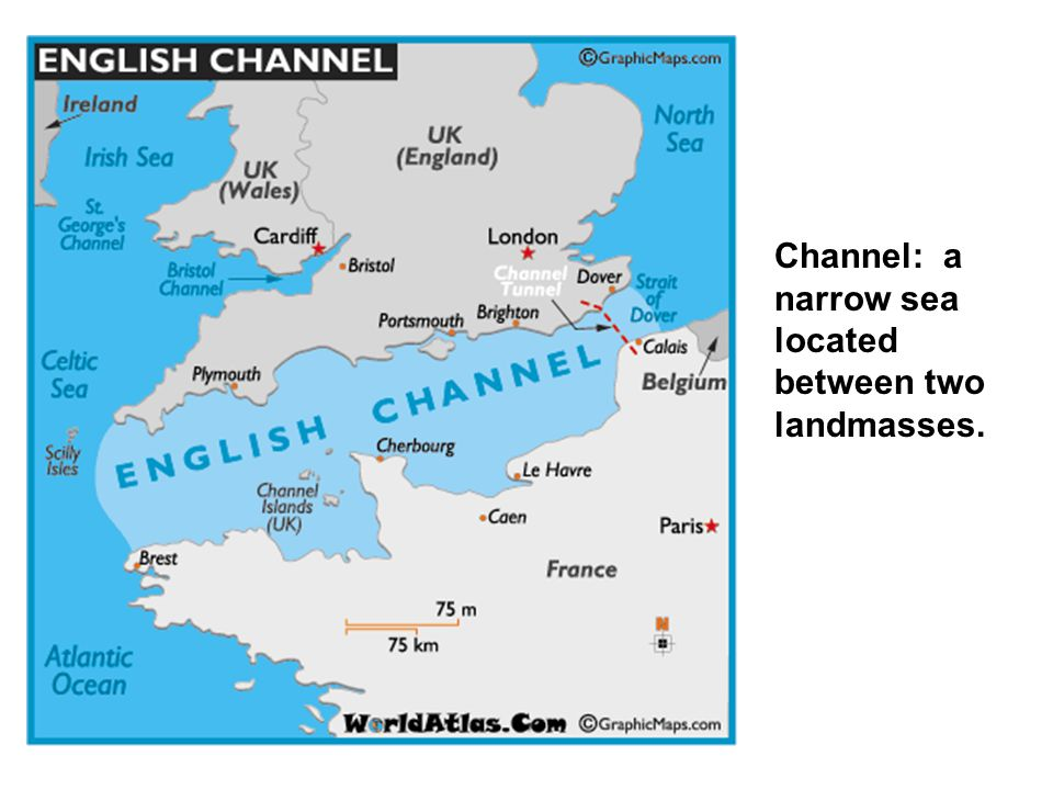Channel: a narrow sea located between two landmasses.