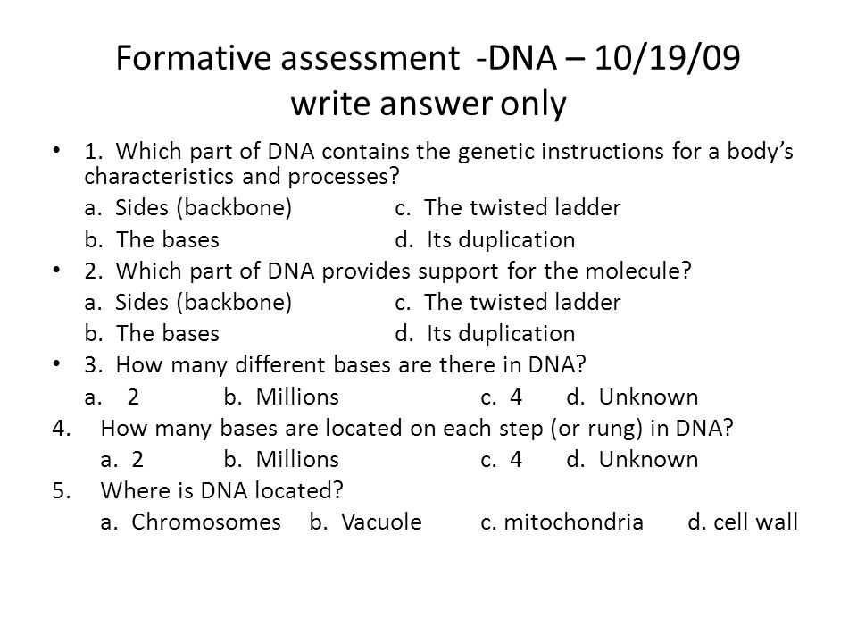 Formative assessment -DNA – 10/19/09 write answer only 1.