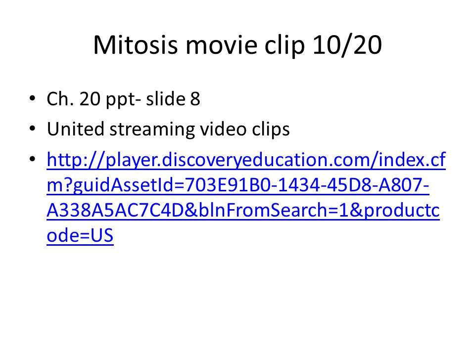 Mitosis movie clip 10/20 Ch.