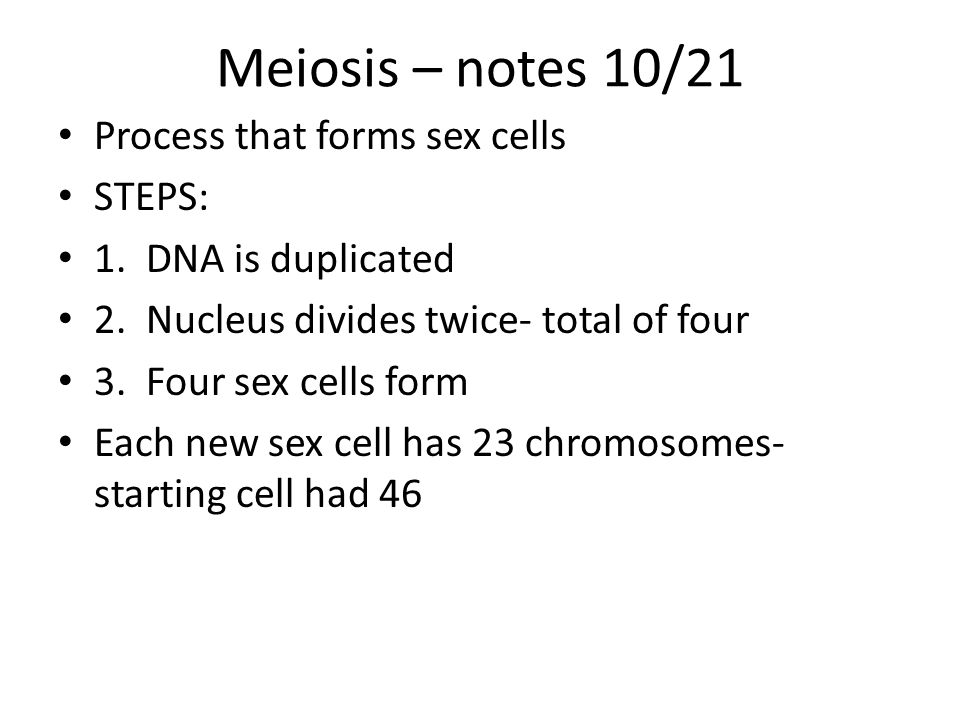 Meiosis – notes 10/21 Process that forms sex cells STEPS: 1.
