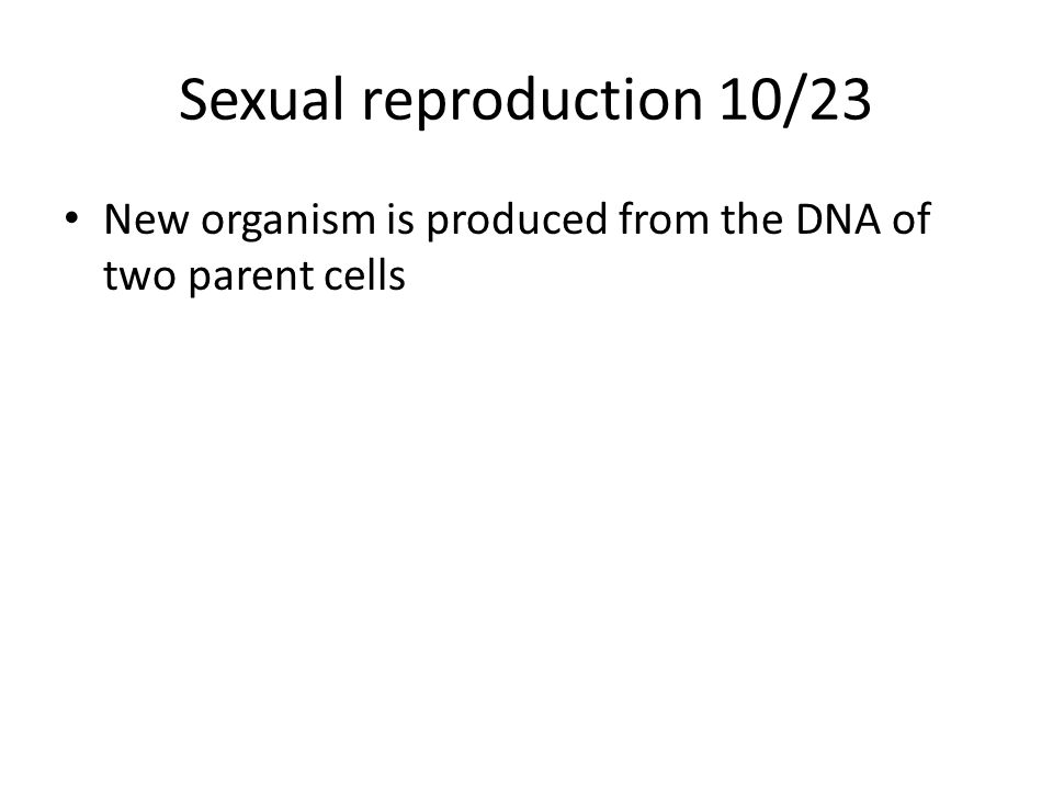 Sexual reproduction 10/23 New organism is produced from the DNA of two parent cells