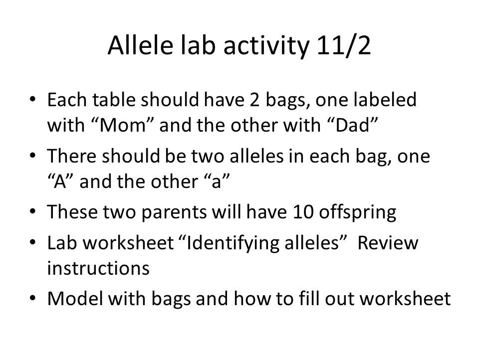 Allele lab activity 11/2 Each table should have 2 bags, one labeled with Mom and the other with Dad There should be two alleles in each bag, one A and the other a These two parents will have 10 offspring Lab worksheet Identifying alleles Review instructions Model with bags and how to fill out worksheet