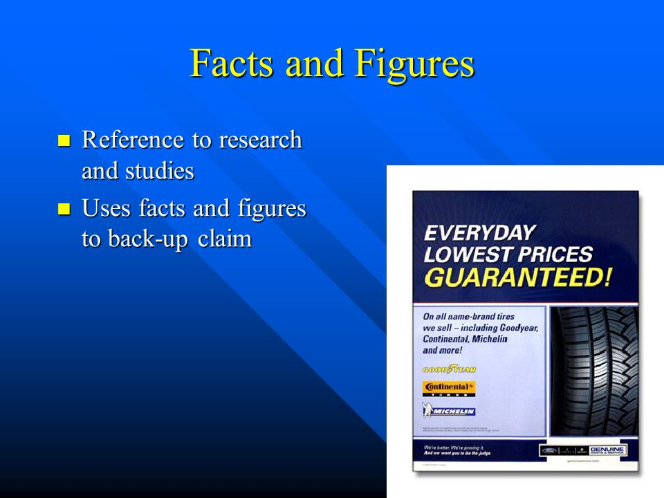 Facts and Figures Reference to research and studies Reference to research and studies Uses facts and figures to back-up claim Uses facts and figures t