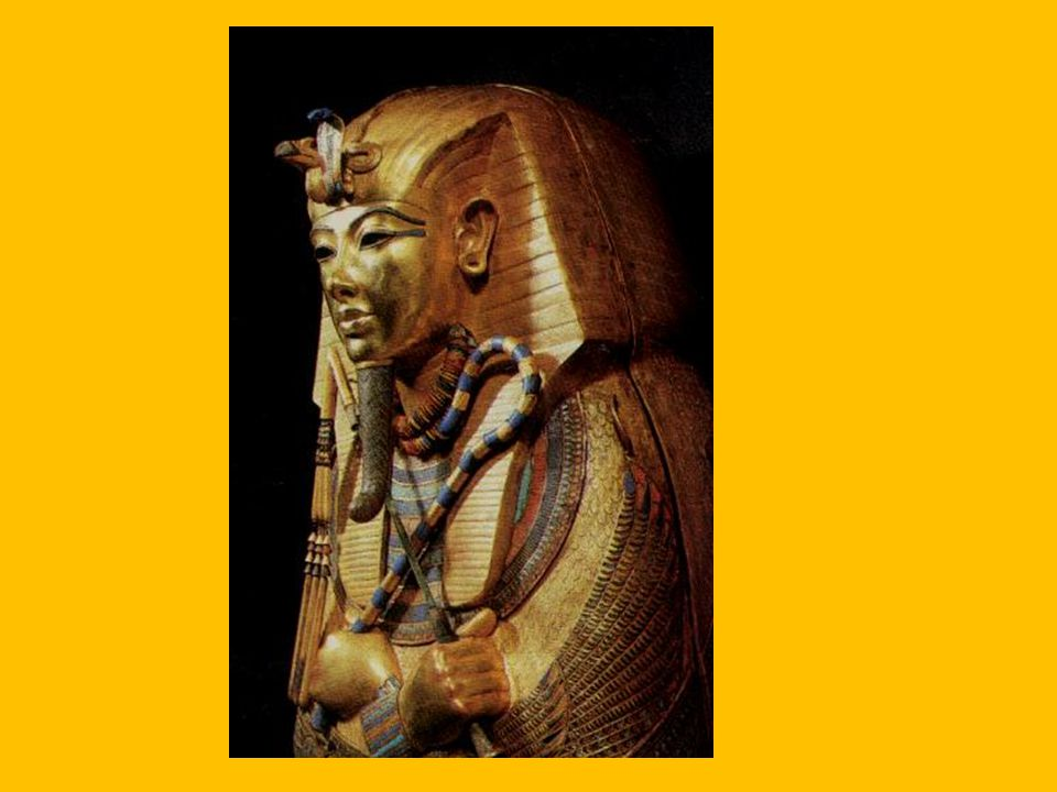 """King Tutankhamun """"Tut"""" Took the throne when he was only 9. Died when he was 19 Most famous pharoh. Tomb was discovered in 1922"""