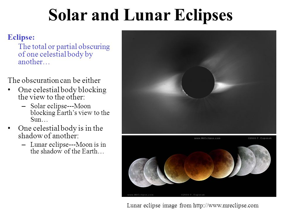Solar and Lunar Eclipses Eclipse: The total or partial obscuring of one celestial body by another… The obscuration can be either One celestial body blocking the view to the other: – Solar eclipse---Moon blocking Earth's view to the Sun… One celestial body is in the shadow of another: – Lunar eclipse---Moon is in the shadow of the Earth… Lunar eclipse image from http://www.mreclipse.com