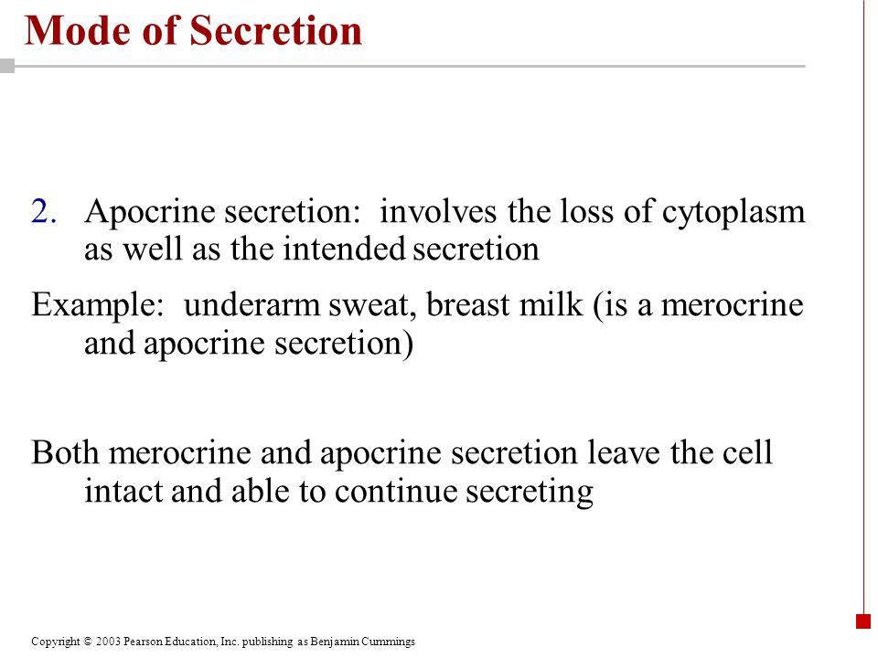 Copyright © 2003 Pearson Education, Inc. publishing as Benjamin Cummings Mode of Secretion 2.Apocrine secretion: involves the loss of cytoplasm as wel