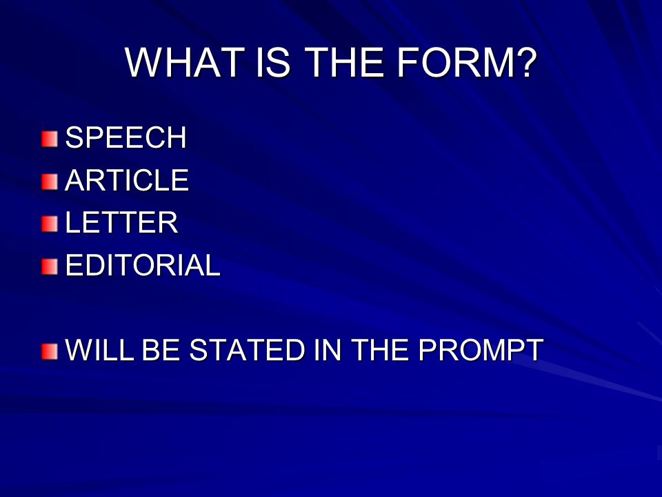 EDITORIAL Expresses the writer's opinion about a current topic of interest Purpose is to interpret a situation, to criticize, to persuade, to inform, or to entertain Audience is the readership of a certain newspaper